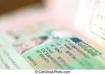 passport witn Schengen visa - shot of few passport witn...