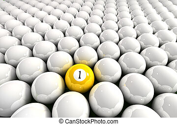 One leader - Yellow one ball surrounded by white billiard...