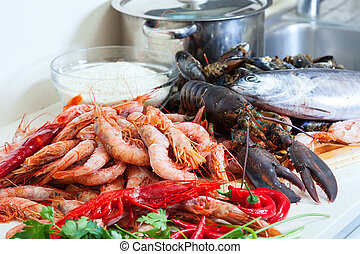 Fresh uncooked sea foods - Fresh uncooked sea food...