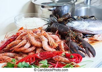 fresco, crudo, alimentos, mar
