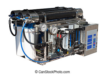 Reverse osmosis system. Isolated over white - Reverse...