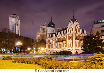Night view of Spain Square - one of the symbol of Madrid,...