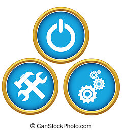 Repairs icons - Blue repairs icons set on a white background