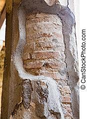 Brick Through Plaster on Pompeii Column