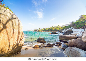 Rocks and Caribbean - View of rocks and the Caribbean Sea in...
