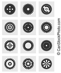 Gear wheel an icon - Set of icons a gear wheel. A vector...