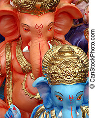 Ganesha Colors - A religious background with an abstract...