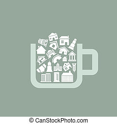 House a cup - Cup filled with houses A vector illustration