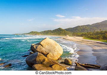 Tayrona Beach and Rocks - Beach in Tayrona National Park...