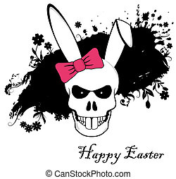 Funny Easter Bunny skull with red bow on ink background
