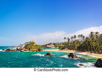 Beautiful Tayrona Beach - Palm trees and blue Caribbean...