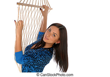 girl in rope grid - Photo beautiful girl on the sagging rope...