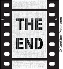 The End - A strip of film with the text THE END.