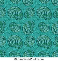 Seamless background, seashells - Seamless background,...