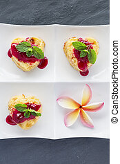 Cottage-cheese Baked Pudding ins heart shape with frangipani flowers