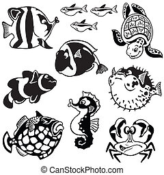 set with cartoon fishes - cartoon set with aquarium...