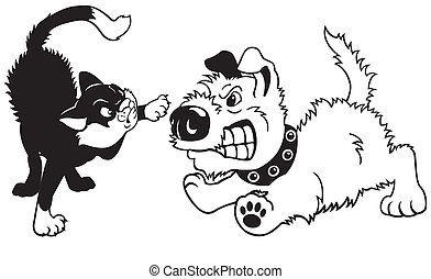 cartoon dog and cat fighting - dog and cat fighting,black...