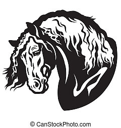 horse head black white - draft horse head black and white...