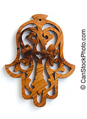 Hand of Fatima - Authentic Moroccan thuya wood amulet, hand...