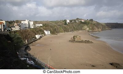 Tenby beach and coast Pembrokeshire Wales historic Welsh...
