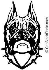 boxer dog head black white - boxer dog head, black and white...