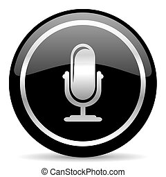 microphone icon - black web button on white background