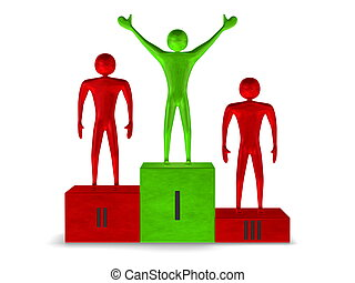 Green winner and red prizetakers on podium. Front view
