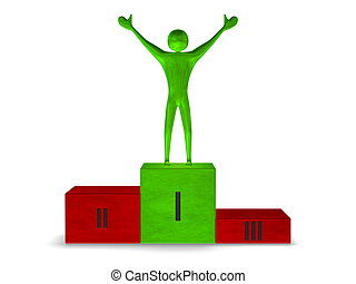 Green reflective winner on multicolored podium. Front view