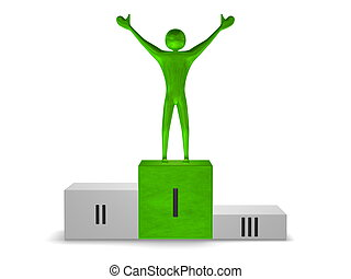 Green reflective winner on podium. Front view