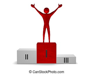 Red reflective winner on podium. Front view