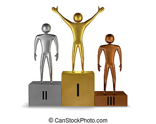 Golden winner, silver and bronze prizetakers on podium....