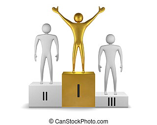 Golden winner and gray prizetakers on podium. Front view