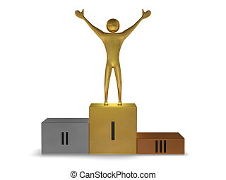 Golden winner on podium of gold, silver and bronze. Front view