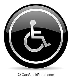 wheelchair icon - black web button on white background