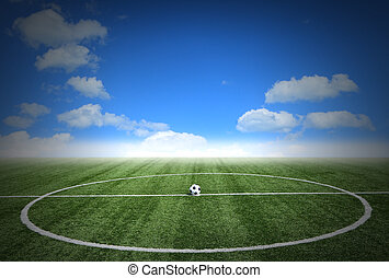 Soccer green grass field with blue sky white clouds...