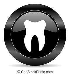 tooth icon - black circle web button on white background