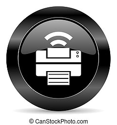 printer icon - black circle web button on white background