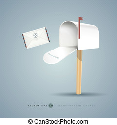Mailbox and letter illustration concept of vector design