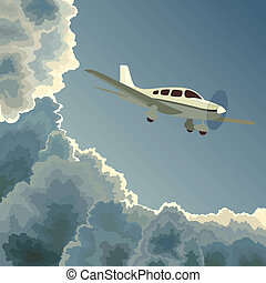 Private plane among clouds at dusk. - Vector square...