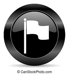 flag icon - black circle web button on white background