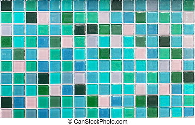 Blue glass tiles as background