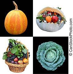 collection of berries fruits vegetables collage