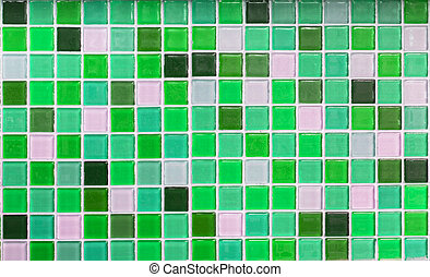 Green glass tiles as background