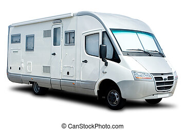Recreational Vehicle - White Recreational Vehicle Isolated...