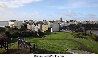 View Tenby town and harbour Wales