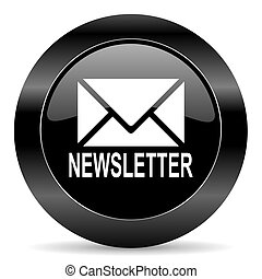 newsletter icon - black circle web button on white...
