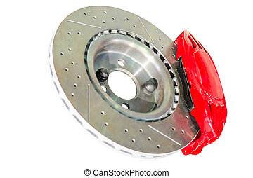 Assembled caliper disc and pads of car brake system -...