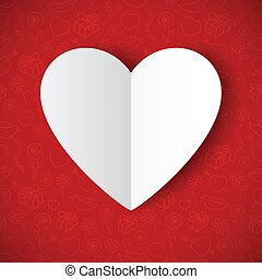 Paper Heart - Paper heart on red background. Valentines day...