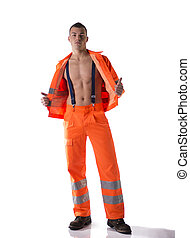 Full body shot of athletic young construction worker with...