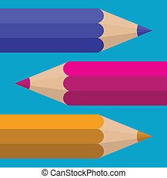 Colored Pencils. Vector flat design